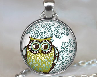 Curlicue Owl necklace, owl pendant, owl jewelry owl jewellery cute owl pendant owl lover gift owl art pendant key chain key ring key fob