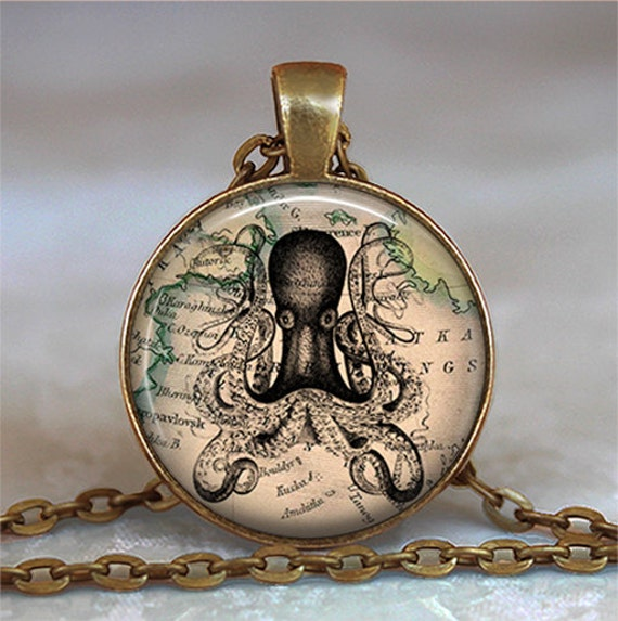 Antique Map & Octopus pendant, Steampunk octopus necklace, Steampunk octopus pendant, Octopus keychain key chain key fob
