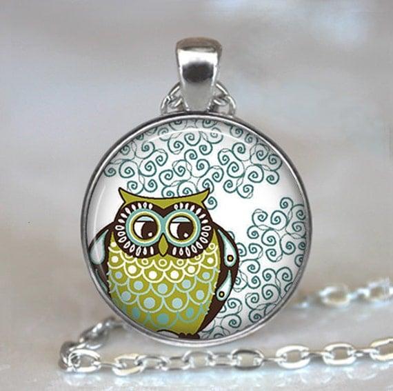 Curlicue Owl necklace, owl pendant, owl jewelry owl jewellery cute owl pendant, owl lover gift, owl keychain, owl key chain, owl key fob