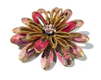 Florenza Enamel Flower Brooch VINTAGE Pink Enamel Flower Pin Brooch Signed Enamel Ready to Wear Vintage Flower Jewelry Destash (F25)
