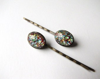 Sparkle Glass Bobby Pins, Vintage 1940s Foil Confetti Multi Color