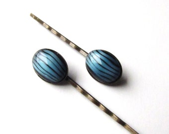 Vintage Glass Bobby Pins, Blue and Black Stripes