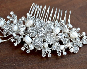 Bridal Crystal hair comb - wedding hair piece, Swarovski crystal and pearl hair comb- Vintage Glam / Garden wedding