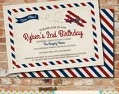 Vintage Airplane Birthday Invitation- Vintage / Rustic / Airplane / Birthday Party /  Times Flies