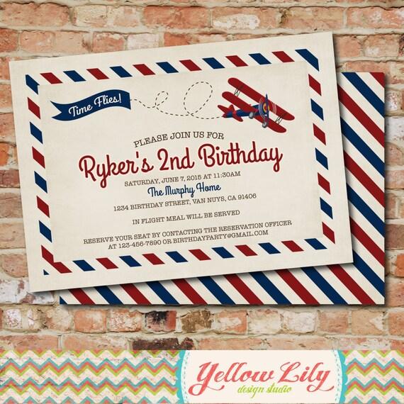 Airplane Birthday Invitation Diy Printable By Vindee On Etsy: Vintage Airplane Birthday Invitation Vintage / Rustic