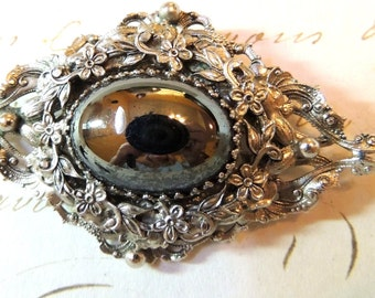 Art Nouveau Brooch Pin Hematite Large Flower Silver Vintage Jewelry