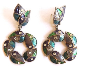 Vintage Dangle Earrings Rhinestone Enamel Jewelry