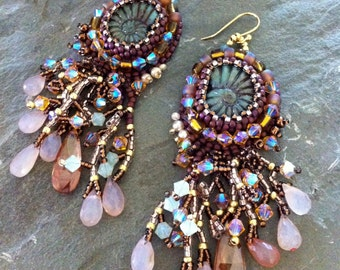 Amazonian Sunset - Boho Chic Long Beaded Earrings with Fringe, Honey and Copper Colors, Gemstone, Swarovski, and Glass Earrings