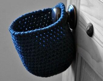 Windsor Blue Hanging Storage Basket Office Organizer Doorknob Catchall Crocheted Decor Supply Holder