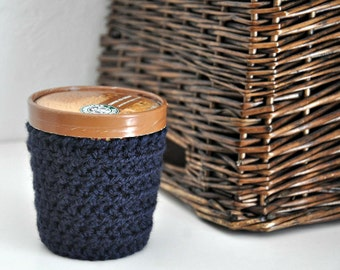 Navy Blue Ice Cream Cozy Crocheted Holder Pint Size Eco Friendly Reusable Cover Get Well Gift Friend Gift Easy Hold