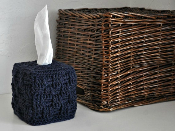 Tissue Box Cover Modern Home Decor Navy Blue Basket Weave