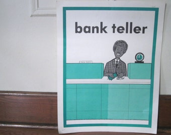 BANK TELLER, vintage 1970s educational poster - professions, extra large flash card, ready to frame -  teal, white, black, gray