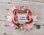 Coffee Latte Hair Bow, Day Hair Bow, Coffee Lover Bow, Pink, Caffe, Brown, Birthday Bow, I Love You A Latte
