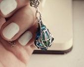 Aged Silver and Swarovski Necklace - Blue - Ocean - Victorian - Mermaid - Fantasy - Spring - May - Mothers Day - Unique - Wedding - Bridal