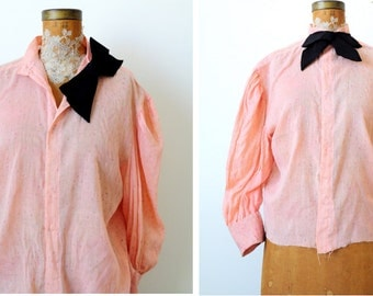 Antique 1900s Victorian Pink Blouse/Black Ribbon bow/Shabby pink/Pastel pink