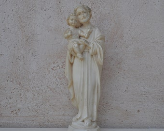 Italian Statuette or Religious Sculpture of St. Joseph and Child by G. Ruggeri