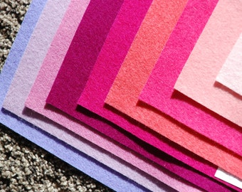 TRUE FELT  - Pinks and Purples Choice of colors