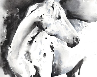 Horse Print, Horse Art, Print of Watercolor Horse Painting, Horse Watercolor, Horse Illustration, Black and white horse
