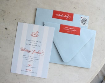 """baby shower or sprinkle invitation - rocking horse with foldover return address label """"rockabye baby"""" detail (boy baby, blue and red)"""