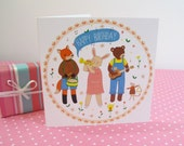 Animal Jive Birthday Card - a cute woodland band themed card featuring a fox, bear rabbit & mouse