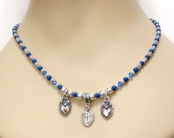 Crystal Charm Necklace, Blue Lapis Lazuli Beads, Silver Heart Charms, Sapphire Blue Crystal, Blue & Silver, Handmade Affordable Elegance