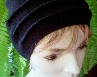 Black Headband Merino Winter weight extra Wide Headband Comfortable Chemo Alopecia wool