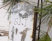Vintage Ski Scene - Large Rusty Tin Sled - Vintage Ski - Christmas Ornament - Vintage Sled - Ski - Sled - Rustic