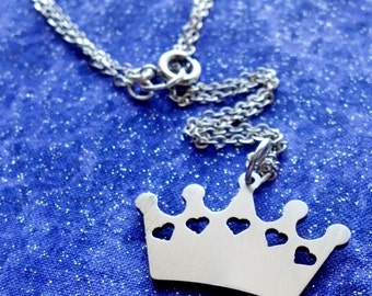 Crown Charm Necklace Key Chain or Pendant