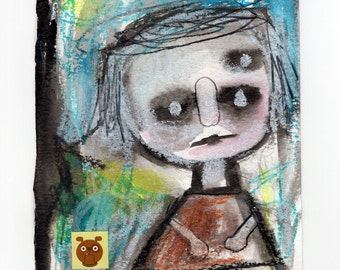 Small Childlike Figure Painting. modern art, strange portrait, abstract wall art, boy and dog painting, scribbles, kids room, watercolor