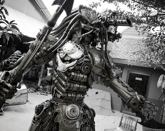 Recycled Metal Hunter with spear (made to order) (2.3m / 7.5 ft height)