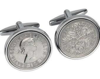 62nd Birthday gift for men - 1955 Old English sixpence - England Cufflinks - Presentation box included - 100% satisfaction