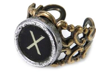 Vintage Typewriter Key Ring - Steampunk Ring -  Letter X Ring Name Ring - Custom Initial Ring - Brass Adjustable Ring