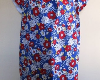 Floral Dress Farm Girl Pleated Blue Flower Retro Short Sleeve Plus Size XL - Extra Large