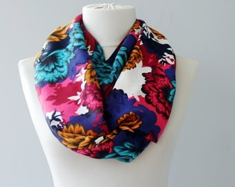 Floral infinity scarf flower printed scarf loop scarf circle scarf scarves for women bright colored scarf christmas gift idea for her