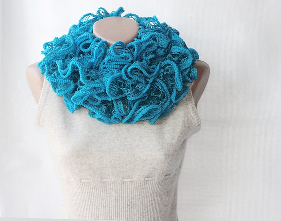 Blue knit scarf ruffled long knitted scarf vegan women scarves fashion accessories funky gift idea for her spring summer mothers day