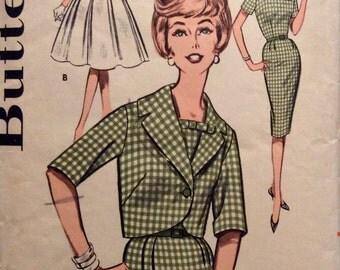 Vintage Sewing Pattern 1960s Short Jacket Wiggle or Flared Dress Miss 18 Mad Men