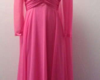 Vintage 1960's Formal Gown by Mike Benet Formals, Pink, Size 34 Bust, Small Medium,  #51477