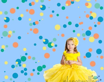 Circle Decals Non-toxic Fabric Wall Decals for Kids REUSABLE REPOSITIONABLE Circles Decals, A211