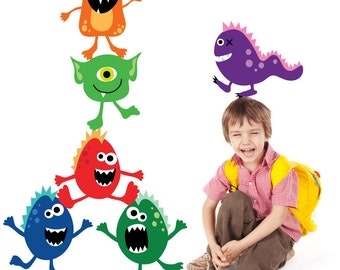 Monsters Wall Decals Non-toxic REUSABLE Fabric Wall Decals A116