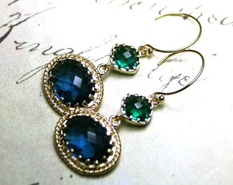 Sapphire and Emerald Earrings - Gold Gothic Earrings in Dark Blue And Green - 14K Gold Filled Earwires