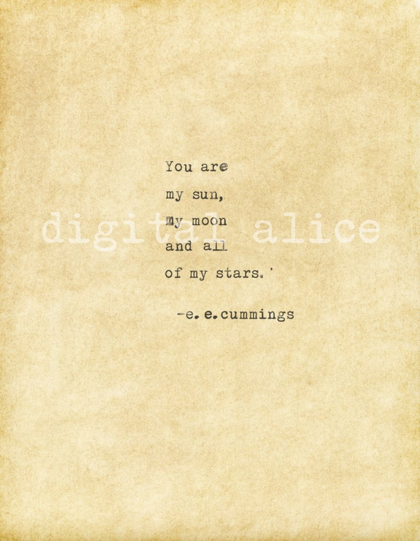 Vintage Typewriter Print E E Cummings Love Quote Instant