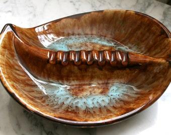 SALE PRICE Ceramicraft Mid Century Glazed Ceramic Dish Cigarette Ashtray Brown Tiger's Eye Glaze