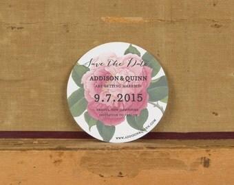 Pink Botanical Save the Date,Rustic Modern Wedding Invitation, Pink Floral Wedding,Unique Save the Dates,Pink floral Save the Dates, Round
