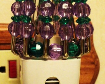 Night Light Shade, Beaded, Purple and Green, Home Decor, Home Accessory, Lighting Accessory, Kitchen Lighting, Beaded Shade - GRAPEVINE