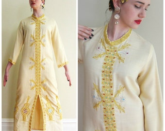 Vintage 1960s Caftan Dress in Beige with Gold Embroidery / 60s Maxi Dress with Exotic Detailing / Medium