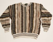 Croft & Barrow Ugly Sweater, Loud Pattern, Earth Tones, Vintage 90s