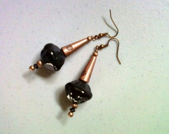 Black and Copper Earrings (1473)
