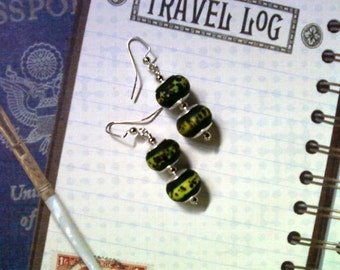 Emerald and Lime Green Spotted Earrings (1680)