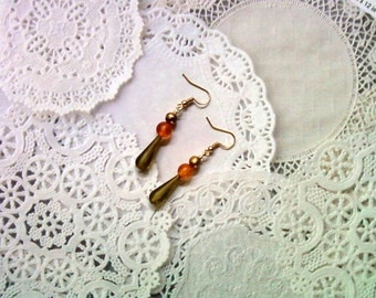Olive Green, Orange and Gold Earrings (1739)