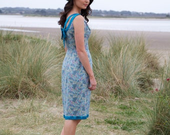 Weekend Chic, French Vintage, Blue Brocade Floral Dress, from Paris